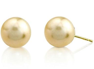 9mm Golden South Sea Pearl Stud Earrings