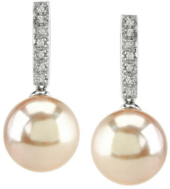 Pink Cultured Pearl Dangling Diamond Earrings