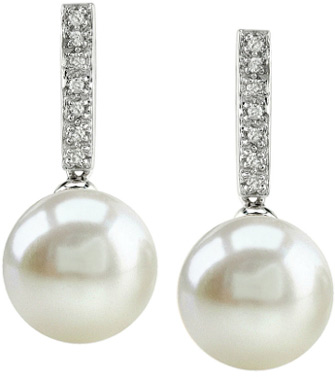 10mm Cultured Pearl Dangling Diamond Earrings (Earrings, Apples of Gold)
