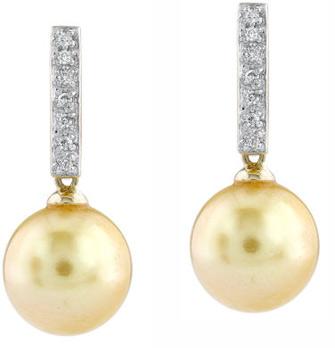 Golden Pearl Dangling Diamond Earrings