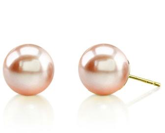 10mm Peach Freshwater Pearl Stud Earrings
