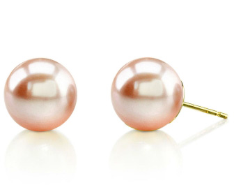 9mm Peach Freshwater Pearl Stud Earrings