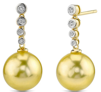 Buy Golden South Sea Diamond Links Pearl Earrings