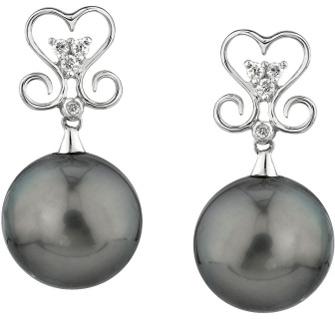 Buy Tahitian Pearl & Diamond Curl Earrings