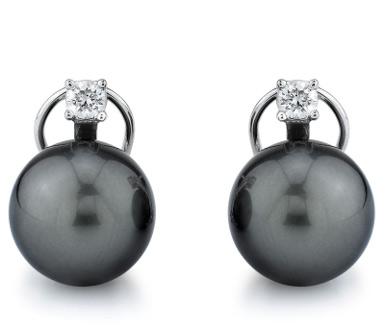 Tahitian Pearl Diamond Leverback Stud Earrings (Earrings, Apples of Gold)