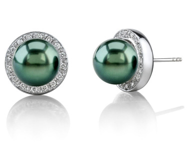 Tahitian Pearl Diamond Pave Stud Earrings