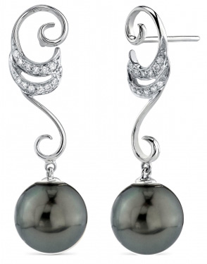 Tahitian Pearl & Diamond Opera Earrings