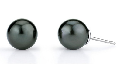 10mm Tahitian South Sea Pearl Stud Earrings (Earrings, Apples of Gold)