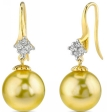 Golden South Sea Pearl and Diamond Sandra Earrings