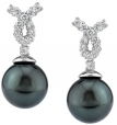 Tahitian Pearl & Diamond Swirl Earrings