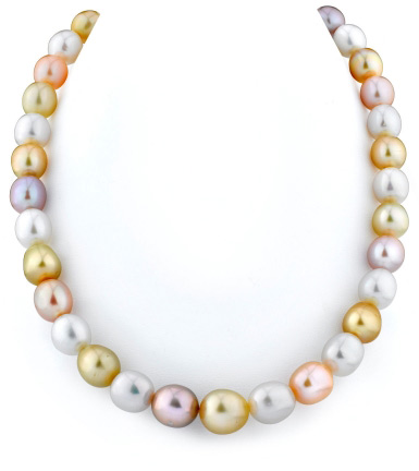Buy 10-12mm Golden & Freshwater Off-Round Pearl Necklace