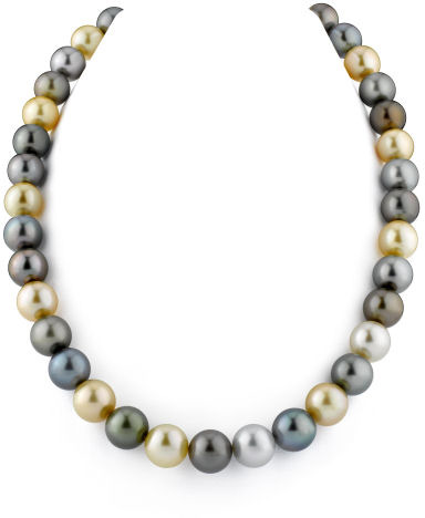 10-12mm Tahitian & Golden South Sea Pearl Necklace (Necklaces, Apples of Gold)