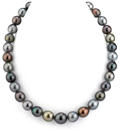 10-12mm Tahitian South Sea Multicolor Drop-Shape Pearl Necklace (Necklaces, Apples of Gold)
