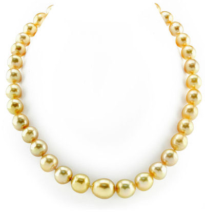 10-13mm Oval-Shaped Golden South Sea Pearl Necklace (Necklaces, Apples of Gold)