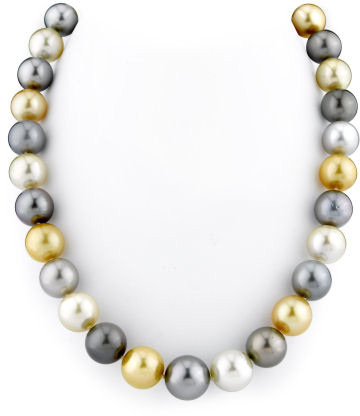 11-14mm Tahitian & Golden South Sea Pearl Necklace (Necklaces, Apples of Gold)