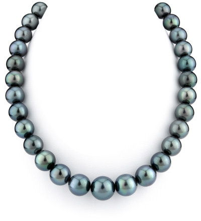 11-14mm Deep Green Tahitian South Sea Pearl Necklace (Necklaces, Apples of Gold)