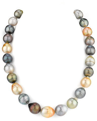 12-14mm Tahitian and Golden South Sea Off-Round Necklace (Necklaces, Apples of Gold)