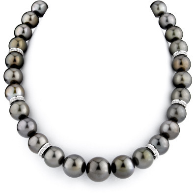 12-15mm Chocolate Tahitian Pearl Necklace with Rondelles