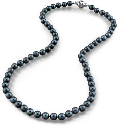 5.0-5.5mm Japanese Akoya Black Pearl Necklace- AA+ Quality