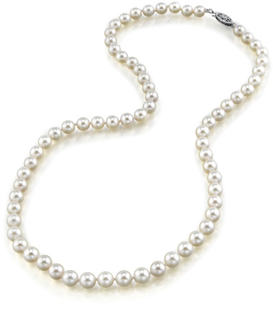 Buy 5.5-6.0mm Japanese Akoya White Pearl Necklace- AA Quality