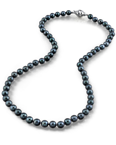 Buy 6.0-6.5mm Japanese Akoya Black Pearl Necklace- AA Quality
