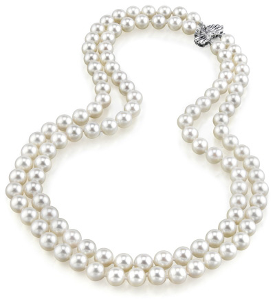 6.5-7.0mm Double Strand White Akoya Pearl Necklace