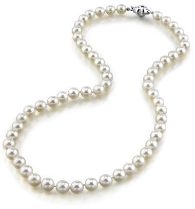 6.5-7.0mm Japanese Akoya White Pearl Necklace- AA Quality (Apples of Gold)