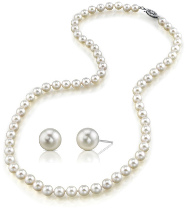 Vintage Style Jewelry, Retro Jewelry 7-8mm White Freshwater Pearl with Matching Earrings $249.00 AT vintagedancer.com