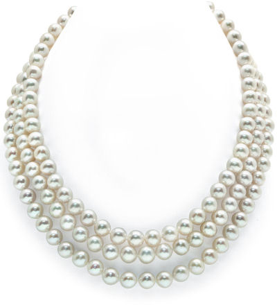 7-8mm Triple Strand White Freshwater Pearl Necklace - AAAA Quality
