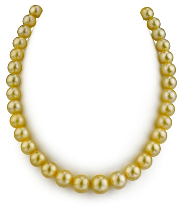 9-11mm Golden South Sea Pearl Necklace- AAAA Quality