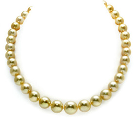 10-13mm Golden South Sea Pearl Necklace