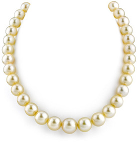 10-13mm Champagne Golden South Sea Pearl Necklace