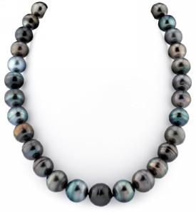 12-14mm Multicolor Tahitian South Sea Pearl Circle Baroque Necklace