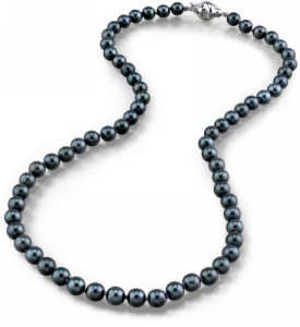 5.5-6.0mm Japanese Akoya Black Pearl Necklace- AA+ Quality