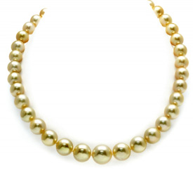 9-11mm Golden South Sea Pearl Necklace