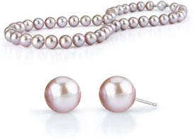 7-8mm Lavender Freshwater Pearl Necklace with Matching Stud Earrings