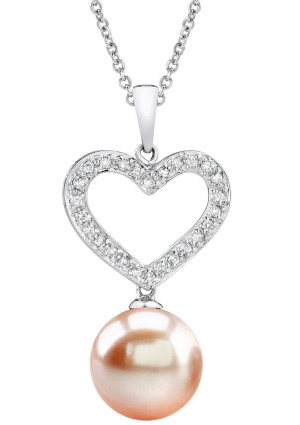10mm Heart Shaped Peach Pearl Pendant (Pendants, Apples of Gold)