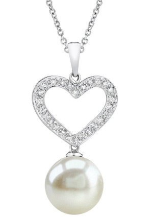 Buy 10mm Heart Shaped White Pearl Pendant