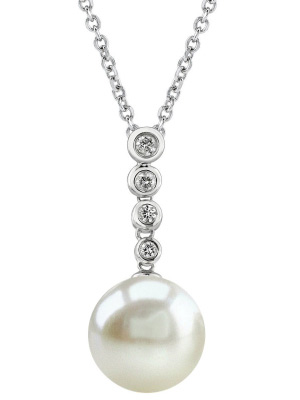 Freshwater Pearl & Diamond Links Pendant
