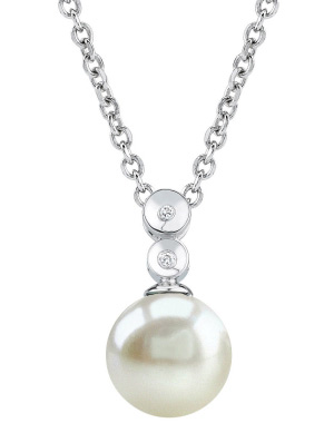 Buy Freshwater Pearl Double Diamond Pendant