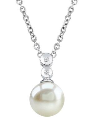 Freshwater Pearl Double Diamond Pendant