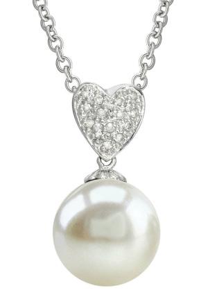 Heart-Shape White Freshwater Pearl & Diamond Pendant