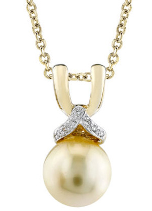 Buy Golden Pearl and Diamond Bow Pendant