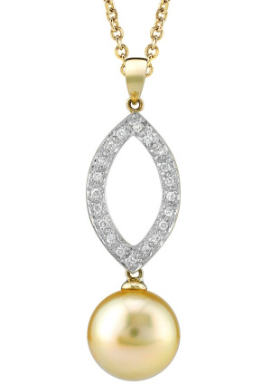 Golden South Sea Pearl & Diamond Vista Pendant
