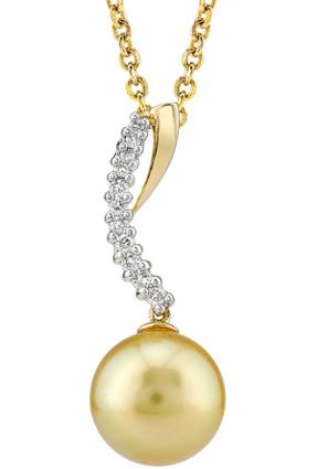Buy Golden Pearl & Diamond Crescent Pendant