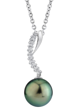 Buy Tahitian Pearl & Diamond Crescent Pendant