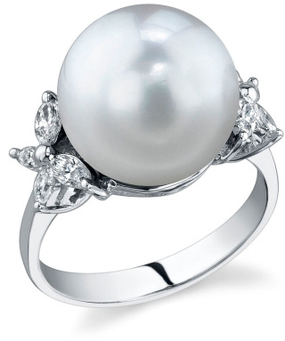 12mm South Sea Pearl & Diamond Floral Ring