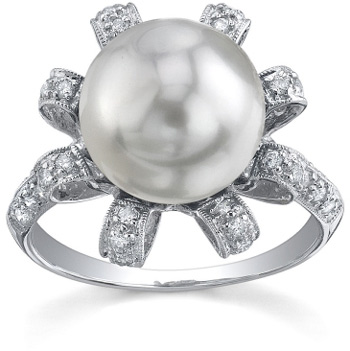 South Sea Pearl & Diamond Blossom Ring