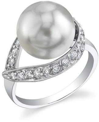 Buy South Sea Pearl & Diamond Crescent Ring