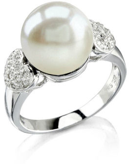 Buy Heart-Shape Australian Pearl & Diamond Ring